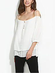 Women's Off The Shoulder Going out Casual/Daily Holiday Simple Street chic Summer Blouse,Solid Strap Long Sleeve Polyester