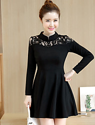 A little black dress Audrey Hepburn spring-type long-sleeved lace stitching waist Slim retro dress