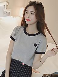 2017 sciolti a maniche corte femmina della maglietta ricamo coreano bicchierino-manicotto maglietta donne del vestito di colore solido