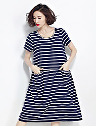 Real shot summer new simple and stylish high-quality cotton comfort literary loose, casual striped dress