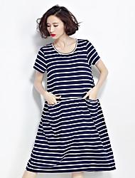 tiro real novo verão simples e elegante conforto de algodão de alta qualidade literária solto, vestido listrado ocasional