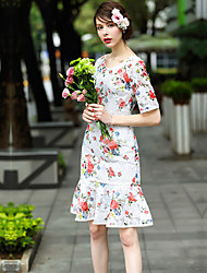 Women's Casual/Daily Work Loose Dress,Floral Round Neck Knee-length Short Sleeve Polyester Spring Summer High Rise Inelastic Medium