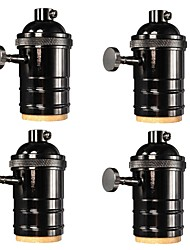 4 Pcs E26/ E27 Industrial Light Socket Vintage Edison Pendant lamp Metal holder With Knob switch