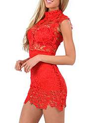 cheap -Women's Club Sexy Sheath Lace Dress,Solid Stand Mini Sleeveless Polyester Nylon Summer Low Rise Micro-elastic Translucent