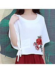 primavera e verão nova camisa de apoio estilo chinês bordados de algodão solto camisa t-shirt