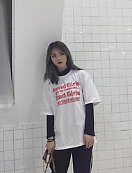 Real shot Korean Fan Harajuku style Korean tidal bf letters long section of loose short-sleeved t-shirt wild female Xia Xuesheng