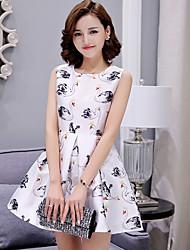 Sign printing lovely ladies sweet princess dress small fragrant wind waist sleeveless high waist tutu dress