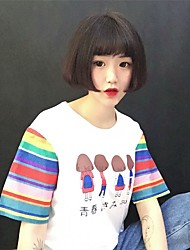 Women's Athletic Daily Road Bike Vacation Street Sweet 16 School Cute Summer T-shirt,Print Round Neck Short Sleeves N/A Medium