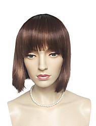 economico -Donna Parrucche sintetiche Pantaloncini Dritto Kinky liscia Castano dorato Taglio medio corto Con frangia Parrucca naturale Parrucca per