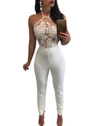 Sheer Lace Top Halter Party jumpsuit