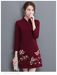 Women's Daily Evening Party Engagement Party Wedding Party Chinoiserie A Line Dress,Fashion Stand Above Knee, Mini Long Sleeves N/A