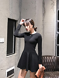 Sign 2016 Winter new Korean version of sweet ladies long-sleeved dress female backing was thin Puff