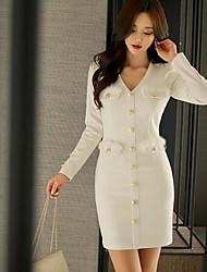 Trapèze Robe Femme Bureau / Carrière Classique & Intemporel,Couleur unie Col en V Au dessus du genou, Mini Manches Longues Non Disponible
