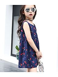 cheap -Girl's Floral Dress,Cotton Spring Summer Fall Sleeveless Lace Bow Purple Royal Blue