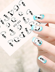 5pcs/set Hot Sale Fashion Style Cute Cat Nail Art DIY Beauty Cartoon Sticker Lovely Cartoon Cat Design Nail Water Transfer Decals STZ-023
