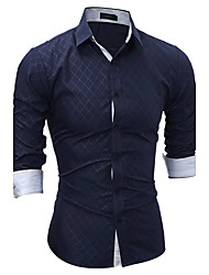 Недорогие -Муж. Спорт Рубашка, Классический воротник В клетку Хлопок