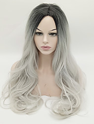 cheap -Synthetic Wig Wavy Middle Part Heat-insulated Black-Grey-Ombre Capless Black Wig Long Synthetic Hair
