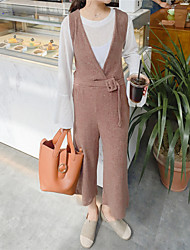 Sign ~ Korean version of knitted fabrics seven wide leg pants female Siamese