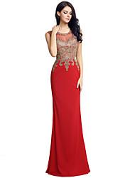 Sirena / tromba del vestito da sera di velluto di lunghezza del pavimento del collo del gioiello con il ricamo