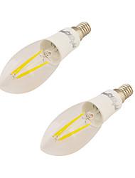 4W E14 Luzes de LED em Vela C37 4 leds COB Branco Quente 350lm 3000
