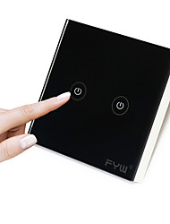 FYW Two Gang  Touch  Remote Controller  No Need To Cut Wall Wiring  Use Radio Waves From High Voltage Control Match Receiver Use