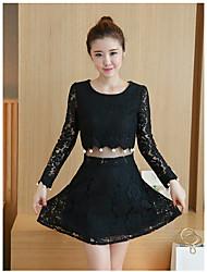 знак 2017 весной новый ажурный крючком бисером поддельные из двух частей корейской версии тонкий кружевной платье +