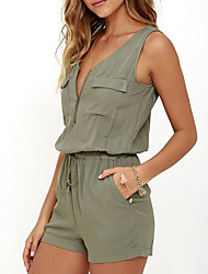 cheap -Women's Going out Romper - Solid Colored V Neck