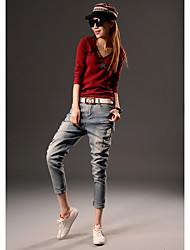 jeans di Harlan femminile primavera nuova primavera tratto sottili grandi cantieri harem pants in denim sfrangiato