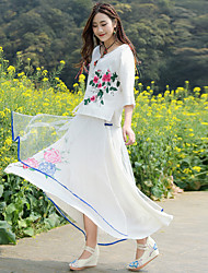 Really making daily improvements in Chinese clothes clothing tea Sleeve shirt embroidered cotton gauze skirt two-piece