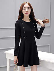 Women's Wedding Office/Career Daily Date Birthday Party Bachelor's Party Cute Active A Line Dress,Solid Color Round Neck Above Knee, Mini