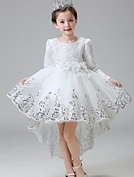 Ball Gown Asymmetrical Flower Girl Dress - Lace Satin Tulle Long Sleeves Jewel Neck with Sequin by YDN