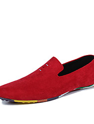 Masculino-Mocassins e Slip-Ons-Mocassim-Rasteiro-Preto Vermelho Azul-Camurça-Ar-Livre Casual Para Esporte
