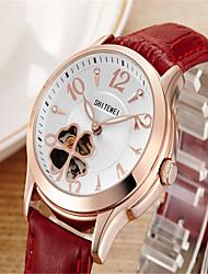 Mulheres Relógio de Moda Quartzo Couro Banda Casual Branco Vermelho Ouro / Branco Branco/Prateado Prateado/Vermelho Dourado/Vermelho