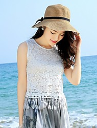 The new openwork lace sleeveless vest T-shirt Slim thin wild tassel shirt