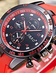 Недорогие -Муж. Модные часы электронные часы Кварцевый Цифровой Стеганная ПУ кожа Черный / Белый / Синий Аналоговый На каждый день - Красный