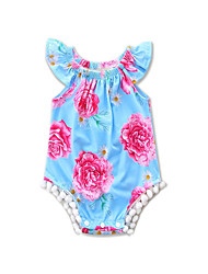 cheap -Baby Girls' Beach Going out Floral One-Pieces, Cotton Polyester Summer Floral Sleeveless Blue
