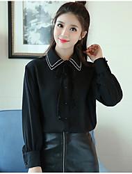 Pequenos grãos novo inverno 2016 versão coreana era de renda fina solta cor sólida camisa feminina polo camisa camisa de colarinho