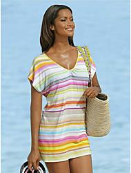 Хорошее качество 2015 лето в Европе и Америке большие размеры женщин новое короткое полосатое платье нетт