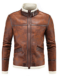 Men's Plus Size Simple Casual Street chic Winter Leather Jacket,Solid Stand Long Sleeve Regular Lamb Fur Oversized