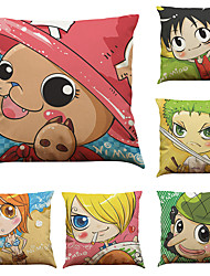 Set of 6 One Piece  Pattern  Linen Pillowcase Sofa Home Decor Cushion Cover (18*18inch)