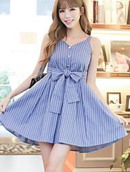 Sign 2017 Korean striped blue V-neck strap dress female waist skirt summer long section