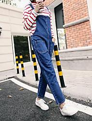Nove nova primavera solta simples correia jeans feminino estudante coreano foi fino peça calças casuais maré