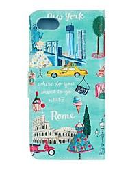 baratos -Para Carteira Porta-Cartão Com Suporte Flip Capinha Corpo Inteiro Capinha Paisagem Urbana Rígida Couro PU para AppleiPhone 7 Plus iPhone