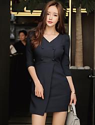 nouvelles femmes coréennes double boutonnage&# 39; paquet v-cou hanche dames tempérament carrière manches mince robe marée