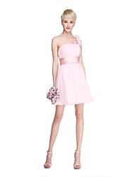 preiswerte -A-Linie Ein-Schulter Kurz / Mini Chiffon Brautjungfernkleid mit Drapiert Blume(n) Schärpe / Band Horizontal gerüscht durch LAN TING BRIDE®