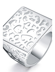 preiswerte -Damen versilbert Ring - Quadratisch Euramerican Silber Ring Für Alltag