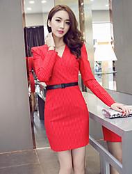 2015 automne et hiver mode nouveau tempérament coréen slim rayé à manches longues v-cou sexy paquet femme robe femmes