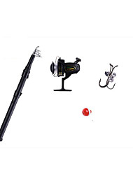 Mini Rod / Pen Rod Fishing Rod Fly Rod Surf Rod Hard Plastic FRP 165 cm Sea Fishing Ice Fishing 5 sections Rod & Reel Combos Fast (F)