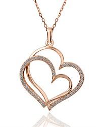 Femme Pendentif de collier Colliers chaînes Zircon cubique Forme de Coeur Zircon Plaqué argent Plaqué or Plaqué Or Rose AlliageOriginal