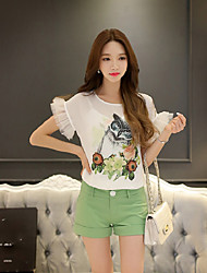 DABUWAWA Women's Going out Casual/Daily Holiday Cute Street chic Sophisticated Summer BlouseAnimal Print Color Block Round Neck Short Sleeve